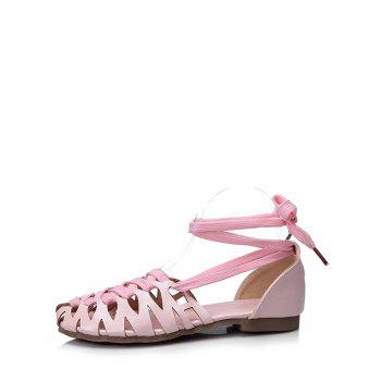 Plus Size Flat Heel Hollow Out Lace Up Sandals - PINK 37