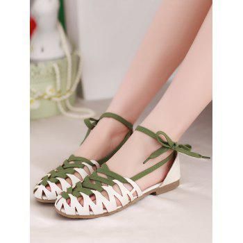 Plus Size Flat Heel Hollow Out Lace Up Sandals - WHITE 42