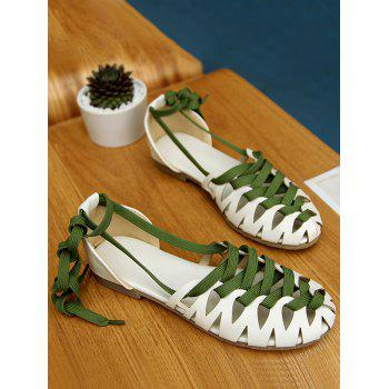 Plus Size Flat Heel Hollow Out Lace Up Sandals - WHITE 38
