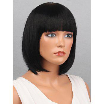 Full Bang Short Bob Straight Synthetic Wig - BLACK