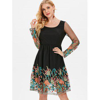 Embroidered Mesh Panel Fit and Flare Dress - BLACK L