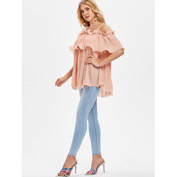 Open Shoulder Ruffled Pleated Top - PIG PINK M