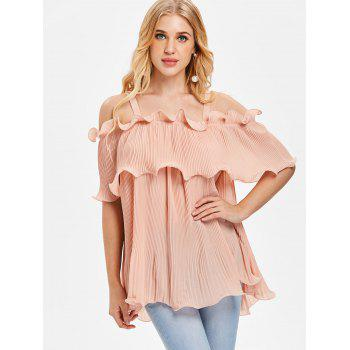 Open Shoulder Ruffled Pleated Top - PIG PINK 2XL