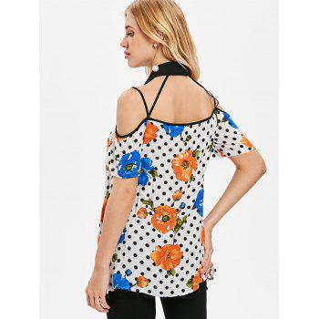 Floral Dotted Strappy Cut Out Blouse - WHITE M