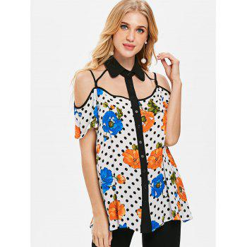 Floral Dotted Strappy Cut Out Blouse - WHITE L
