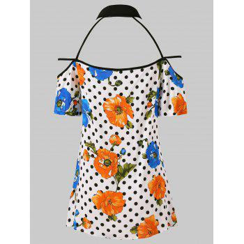 Floral Dotted Strappy Cut Out Blouse - WHITE 2XL