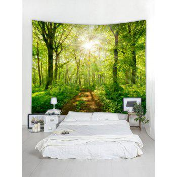 Sunshine Tree Print Tapestry Wall Decoration - VENOM GREEN W79 INCH * L59 INCH