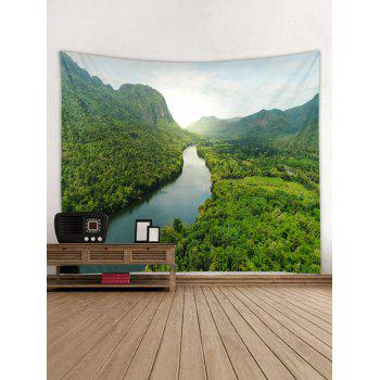 Forest River Printed Tapestry Wall Decoration - SEAWEED GREEN W59 INCH * L51 INCH