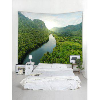 Forest River Printed Tapestry Wall Decoration - SEAWEED GREEN W79 INCH * L71 INCH