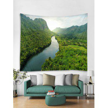 Forest River Printed Tapestry Wall Decoration - SEAWEED GREEN W91 INCH * L71 INCH