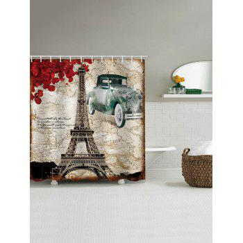 Retro Map Eiffel Tower Print Waterproof Shower Curtain - multicolor W65 INCH * L71 INCH
