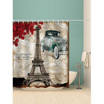 Retro Map Eiffel Tower Print Waterproof Shower Curtain - multicolor W59 INCH * L71 INCH