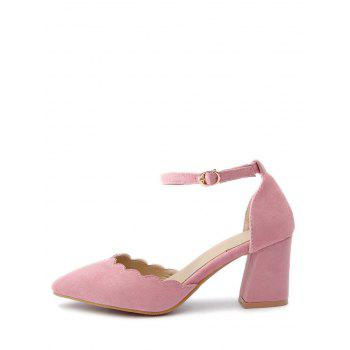 Plus Size Block Heel Ankle Strap Scallop Pumps - PINK 37