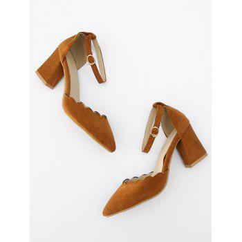 Plus Size Block Heel Ankle Strap Scallop Pumps - LIGHT BROWN 40