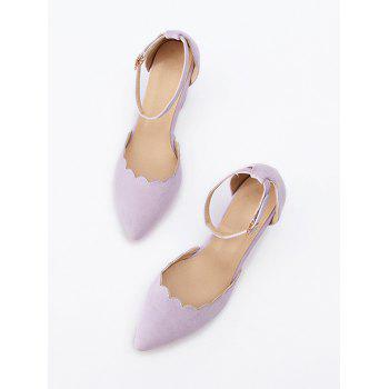 Plus Size Block Heel Ankle Strap Scallop Pumps - MAUVE 40