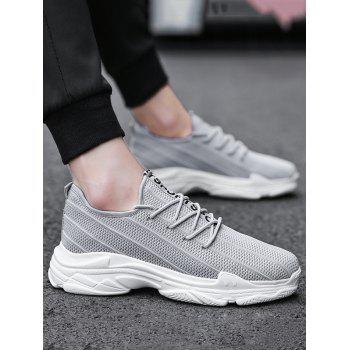 Lace Up Letter Print Outdoor Casual Sneakers - GRAY 41