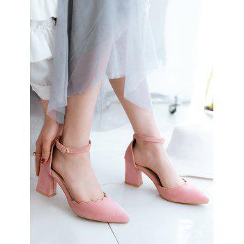 Plus Size Block Heel Ankle Strap Scallop Pumps - PINK 40