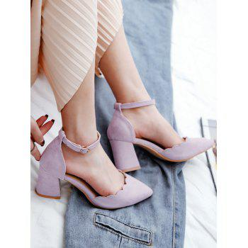 Plus Size Block Heel Ankle Strap Scallop Pumps - MAUVE 37