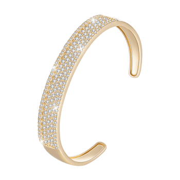 Stylish Rhinestone Inlaid Wedding Cuff Bracelet - CHAMPAGNE