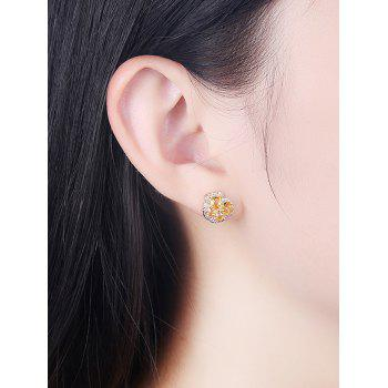 Vintage Rhinestone Crystal Inlaid Elegant Stud Earrings - BRIGHT YELLOW