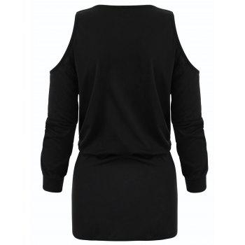Long Sleeve Cold Shoulder Bodycon Dress - BLACK M