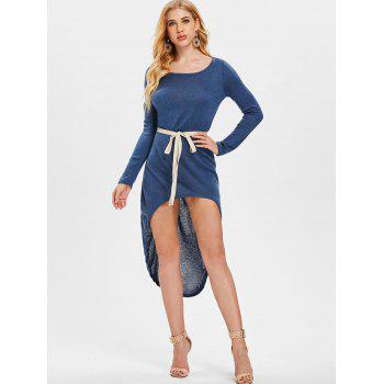 Long Sleeve High Low Dress with Belt - BLUE S