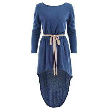 Long Sleeve High Low Dress with Belt - BLUE L