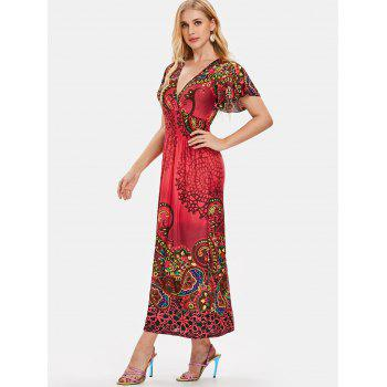 Plunge Tribal Print Empire Waist Maxi Dress - multicolor B M