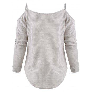 Long Sleeve Cold Shoulder Sweater - LIGHT GRAY XL