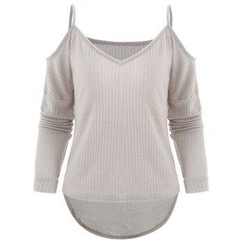 Long Sleeve Cold Shoulder Sweater - LIGHT GRAY M