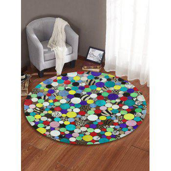Polka Dot Print Round Area Rug - multicolor 80 CM (ROUND)