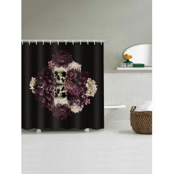 Floral Skulls Print Waterproof Shower Curtain - BLACK W71 INCH * L71 INCH