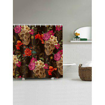 Skulls and Flowers Print Waterproof Shower Curtain - multicolor W59 INCH * L71 INCH