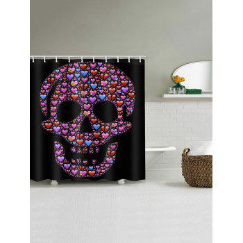 Hearts Skull Print Waterproof Shower Curtain - multicolor W59 INCH * L71 INCH