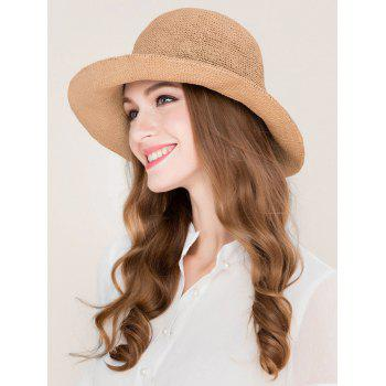 Elegant Foldable Beach Holiday Straw Sun Hat - CINNAMON