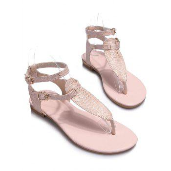 Plus Size T Strap Ankle Strap Sandals - PINK 37