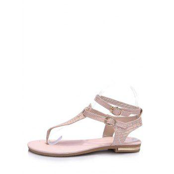 Plus Size T Strap Ankle Strap Sandals - PINK 42