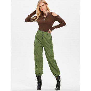 Button Embellished Side Pockets Pants - ARMY GREEN M