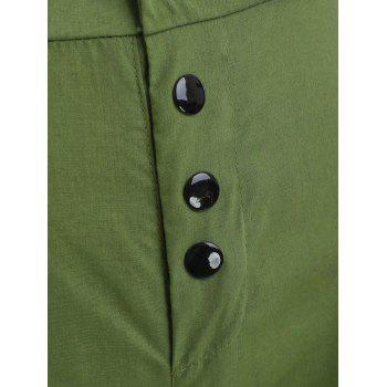 Button Embellished Side Pockets Pants - ARMY GREEN XL
