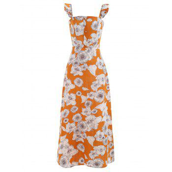 Square Collar Floral Print Maxi Dress - SCHOOL BUS YELLOW S