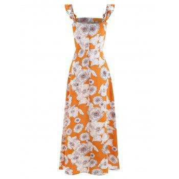 Square Collar Floral Print Maxi Dress - SCHOOL BUS YELLOW L