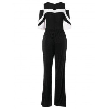 Shoulder Cut Two Tones Jumpsuit - BLACK M