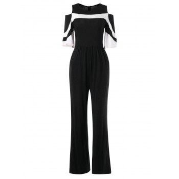 Shoulder Cut Two Tones Jumpsuit - BLACK XL