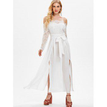 Lace Panel Belted Maxi Dress with Split - WHITE XL