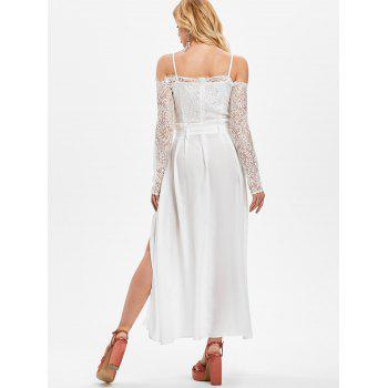 Lace Panel Belted Maxi Dress with Split - WHITE 2XL