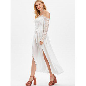 Lace Panel Belted Maxi Dress with Split - WHITE M