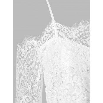Lace Panel Belted Maxi Dress with Split - WHITE L