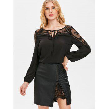Sheer Lace Insert Front Tie Blouse - BLACK L