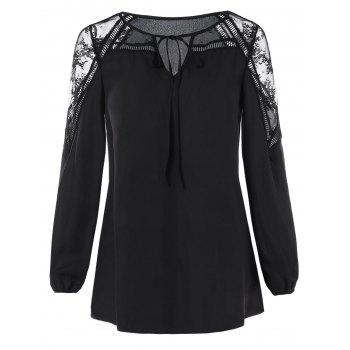 Sheer Lace Insert Front Tie Blouse - BLACK 2XL