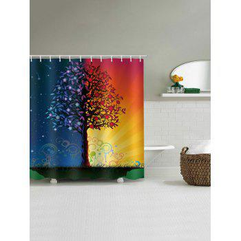 Starry Sky And Sunlight Print Water Resistant Shower Curtain - multicolor W71 INCH * L71 INCH